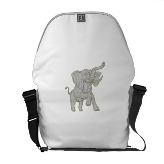 African Elephant Prancing Mono Line Messenger Bag