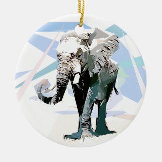 African elephant round ceramic decoration