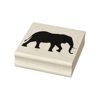 African Elephant Silhouette Rubber Stamp