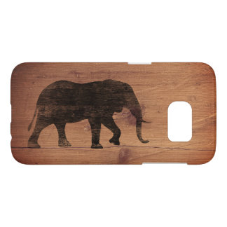 African Elephant Silhouette Rustic Style