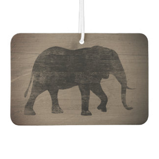 African Elephant Silhouette Rustic Style Car Air Freshener