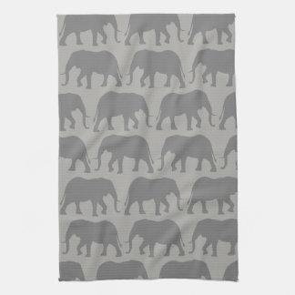 African Elephant Silhouettes Pattern Tea Towel