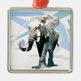 African elephant Silver-Colored square decoration