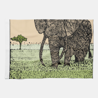 African Elephant Tea Towel