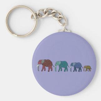African Elephant Walk Basic Round Button Key Ring