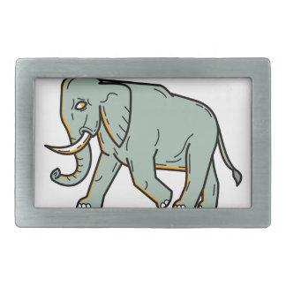 African Elephant Walking Mono Line Art Belt Buckle