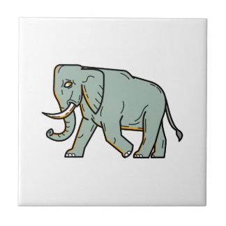 African Elephant Walking Mono Line Art Ceramic Tile