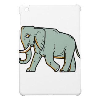 African Elephant Walking Mono Line Art iPad Mini Cover