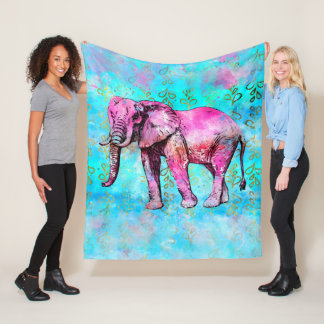 African Elephant Watercolor Pink Blue Trendy Fleece Blanket