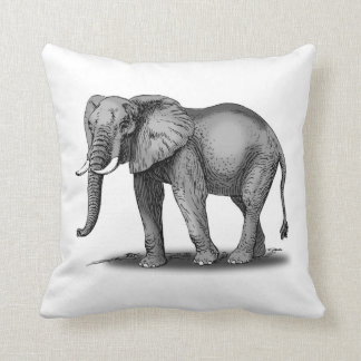 African Elephant with Tusks Drawing Throw Pillows