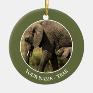 African Elephants at water pool Ceramic Ornament