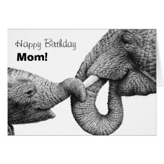 African Elephants Happy Birthday Mom Card