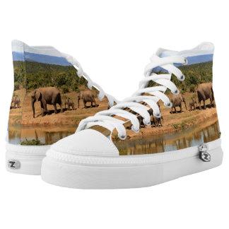 African Elephants Safari Wildlife High Top Shoes