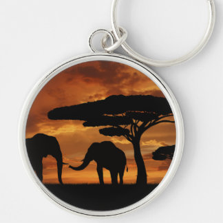 African elephants silhouettes in sunset Silver-Colored round key ring