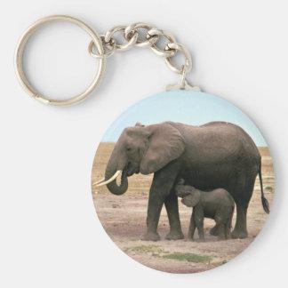 African Elephants - Small Calf Nursing Keychain