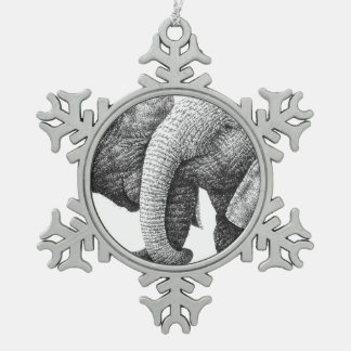 African Elephants Snowflake Pewter Christmas Ornament