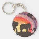 African Elephants Sunset (Kimberly Turnbull Art) Basic Round Button Key Ring