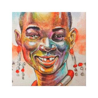 African face portrait canvas print