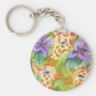 African Giraffe Kisses (Kimberly Turnbull Art) Basic Round Button Key Ring