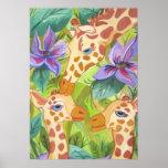African Giraffe Kisses (Kimberly Turnbull Art) Poster