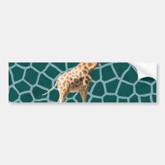 African Giraffe on Blue Camouflage Bumper Sticker