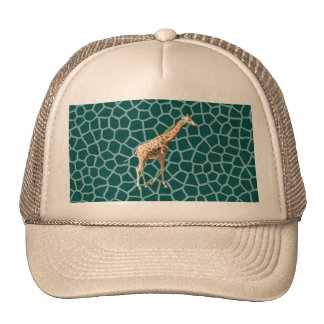 African Giraffe on Blue Camouflage Trucker Hat