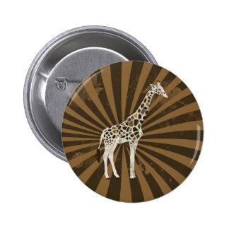 African Giraffe Original Art 6 Cm Round Badge