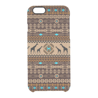 African Giraffes With Tribal Pattern In Brown Clear iPhone 6/6S Case
