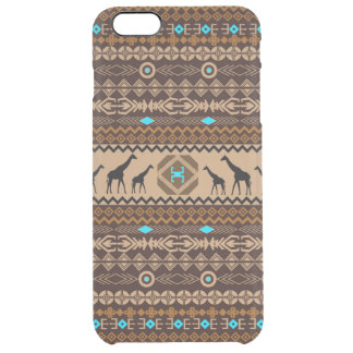 African Giraffes With Tribal Pattern In Brown Clear iPhone 6 Plus Case