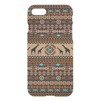 African Giraffes With Tribal Pattern In Brown iPhone 7 Case