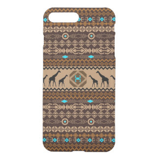 African Giraffes With Tribal Pattern In Brown iPhone 7 Plus Case