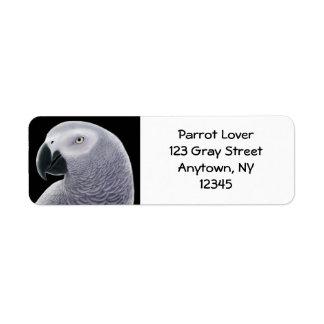 African Gray Parrot Head Label Return Address Label