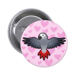 African Grey / Amazon / Parrot Love 6 Cm Round Badge