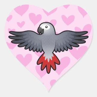 African Grey / Amazon / Parrot Love Heart Sticker