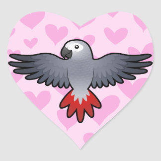 African Grey / Amazon / Parrot Love Stickers