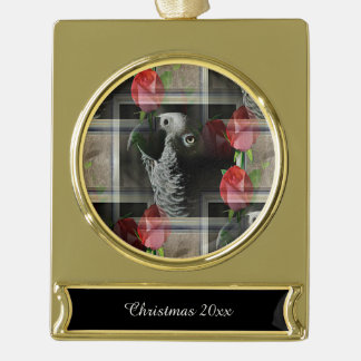 African Grey and Geometric Red Roses Gold Plated Banner Ornament