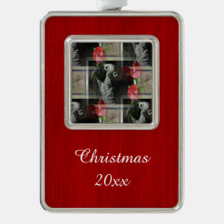 African Grey and Geometric Red Roses Silver Plated Framed Ornament