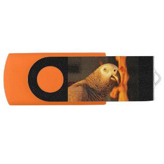 African Grey Gold Sunset Swivel USB 3.0 Flash Drive