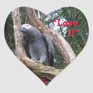 African Grey Heart Sticker