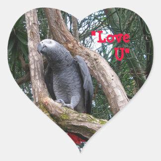 African Grey Heart Sticker
