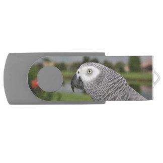 African Grey Lakeside Swivel USB 3.0 Flash Drive