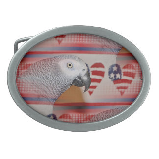 African Grey Parrot 4th of July Oval Belt Buckle