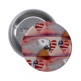 African Grey Parrot 4th of July Pinback Button