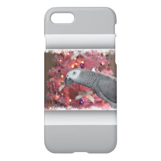 African Grey Parrot and Icy Pink Christmas Tree iPhone 7 Case