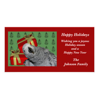 African Grey Parrot Animal Christmas Holiday Card Personalized Photo Card