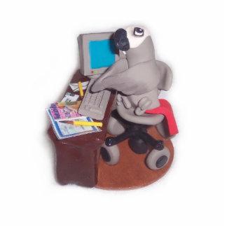 African Grey Parrot at Computer Standing Photo Sculpture
