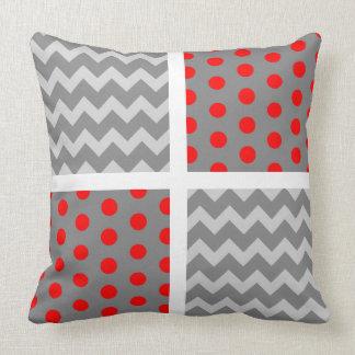 African Grey Parrot Chevron/Polka Dot Pillow