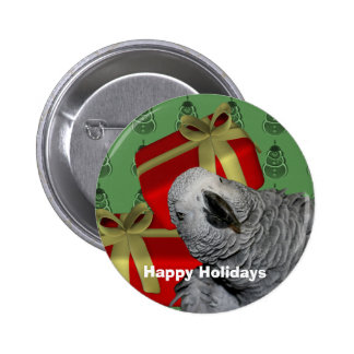 African Grey Parrot Christmas Holiday 6 Cm Round Badge