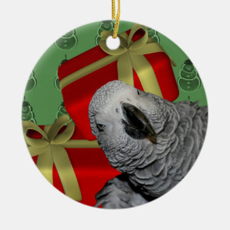 African Grey Parrot Christmas Round Ceramic Decoration