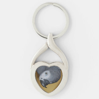 african grey parrot closeup key chains